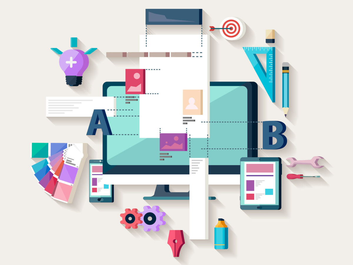 A stylized representation of web design, showing a monitor, smartphone, and tablet with many different tools to represent everything that goes into making a website